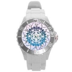 Mandalas Symmetry Meditation Round Round Plastic Sport Watch (l) by BangZart