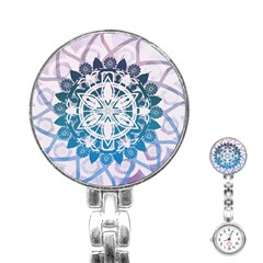 Mandalas Symmetry Meditation Round Stainless Steel Nurses Watch