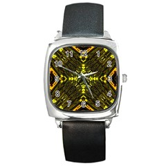 Abstract Glow Kaleidoscopic Light Square Metal Watch