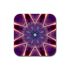 Abstract Glow Kaleidoscopic Light Rubber Square Coaster (4 Pack)  by BangZart
