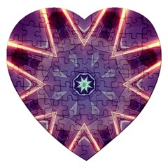 Abstract Glow Kaleidoscopic Light Jigsaw Puzzle (heart)