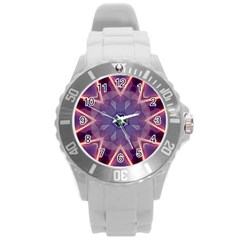Abstract Glow Kaleidoscopic Light Round Plastic Sport Watch (l) by BangZart