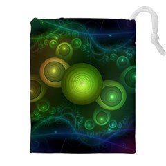 Retrotacular Rainbow Dots In A Fractal Microscope Drawstring Pouches (xxl) by jayaprime