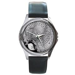Fragmented Fractal Memories And Gunpowder Glass Round Metal Watch by jayaprime