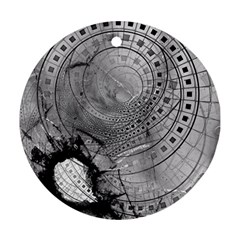 Fragmented Fractal Memories And Gunpowder Glass Ornament (round) by jayaprime