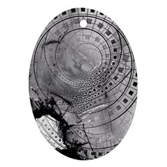Fragmented Fractal Memories And Gunpowder Glass Ornament (oval) by jayaprime