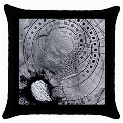 Fragmented Fractal Memories And Gunpowder Glass Throw Pillow Case (black) by jayaprime