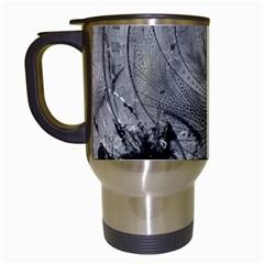Fragmented Fractal Memories And Gunpowder Glass Travel Mugs (white) by jayaprime