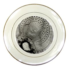 Fragmented Fractal Memories And Gunpowder Glass Porcelain Plates by jayaprime