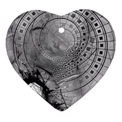 Fragmented Fractal Memories And Gunpowder Glass Heart Ornament (two Sides) by jayaprime