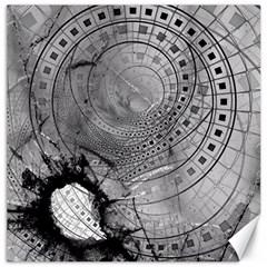 Fragmented Fractal Memories And Gunpowder Glass Canvas 16  X 16   by jayaprime