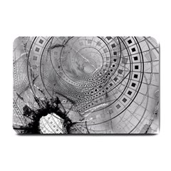Fragmented Fractal Memories And Gunpowder Glass Small Doormat  by jayaprime