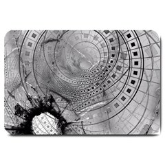 Fragmented Fractal Memories And Gunpowder Glass Large Doormat  by jayaprime
