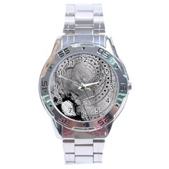 Fragmented Fractal Memories And Gunpowder Glass Stainless Steel Analogue Watch by jayaprime