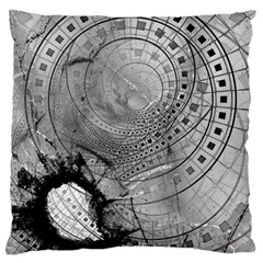 Fragmented Fractal Memories And Gunpowder Glass Large Cushion Case (one Side) by jayaprime