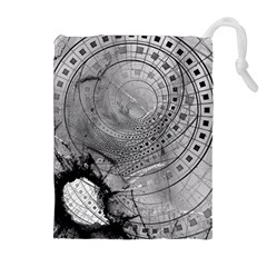 Fragmented Fractal Memories And Gunpowder Glass Drawstring Pouches (extra Large) by jayaprime