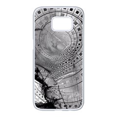 Fragmented Fractal Memories And Gunpowder Glass Samsung Galaxy S7 Edge White Seamless Case by beautifulfractals