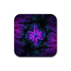 Beautiful Ultraviolet Lilac Orchid Fractal Flowers Rubber Square Coaster (4 Pack)  by jayaprime