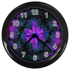 Beautiful Ultraviolet Lilac Orchid Fractal Flowers Wall Clocks (black) by beautifulfractals