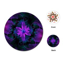 Beautiful Ultraviolet Lilac Orchid Fractal Flowers Playing Cards (round)  by beautifulfractals