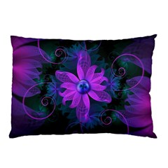 Beautiful Ultraviolet Lilac Orchid Fractal Flowers Pillow Case by jayaprime