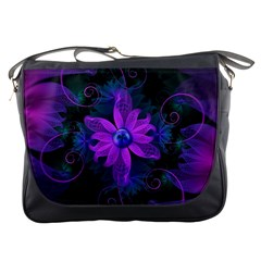 Beautiful Ultraviolet Lilac Orchid Fractal Flowers Messenger Bags by beautifulfractals