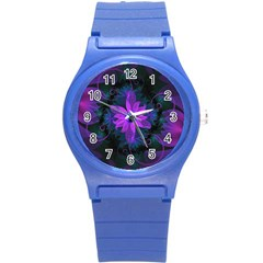 Beautiful Ultraviolet Lilac Orchid Fractal Flowers Round Plastic Sport Watch (s) by jayaprime