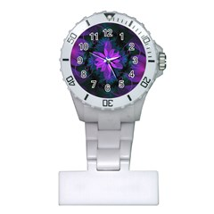 Beautiful Ultraviolet Lilac Orchid Fractal Flowers Plastic Nurses Watch by beautifulfractals