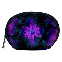 Beautiful Ultraviolet Lilac Orchid Fractal Flowers Accessory Pouches (medium)  by jayaprime