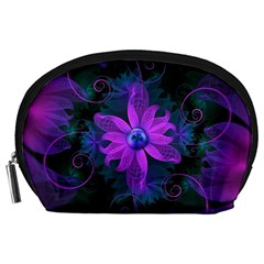 Beautiful Ultraviolet Lilac Orchid Fractal Flowers Accessory Pouches (large)  by jayaprime