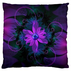 Beautiful Ultraviolet Lilac Orchid Fractal Flowers Large Flano Cushion Case (two Sides) by jayaprime