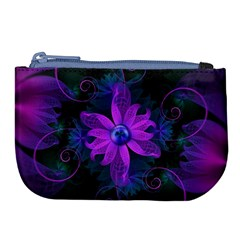 Beautiful Ultraviolet Lilac Orchid Fractal Flowers Large Coin Purse by jayaprime