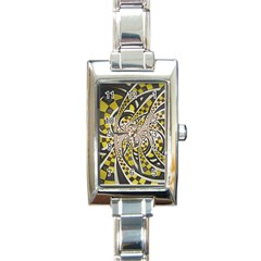 Liquid Taxi Cab, A Yellow Checkered Retro Fractal Rectangle Italian Charm Watch by beautifulfractals