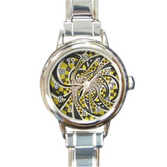 Liquid Taxi Cab, A Yellow Checkered Retro Fractal Round Italian Charm Watch by beautifulfractals