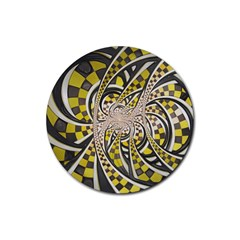 Liquid Taxi Cab, A Yellow Checkered Retro Fractal Rubber Round Coaster (4 Pack)  by jayaprime