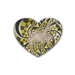 Liquid Taxi Cab, A Yellow Checkered Retro Fractal Heart Coaster (4 Pack)  by jayaprime