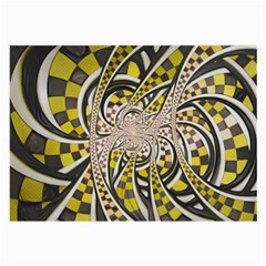 Liquid Taxi Cab, A Yellow Checkered Retro Fractal Large Glasses Cloth (2 Side) by beautifulfractals
