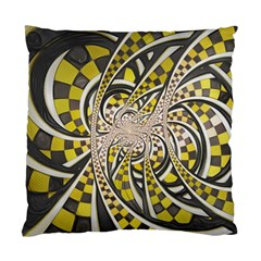 Liquid Taxi Cab, A Yellow Checkered Retro Fractal Standard Cushion Case (two Sides) by jayaprime