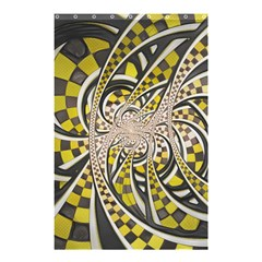 Liquid Taxi Cab, A Yellow Checkered Retro Fractal Shower Curtain 48  X 72  (small)  by jayaprime