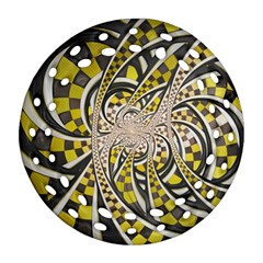 Liquid Taxi Cab, A Yellow Checkered Retro Fractal Round Filigree Ornament (two Sides) by jayaprime