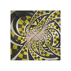 Liquid Taxi Cab, A Yellow Checkered Retro Fractal Acrylic Tangram Puzzle (4  X 4 ) by jayaprime