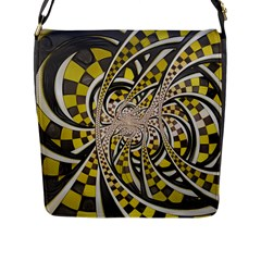 Liquid Taxi Cab, A Yellow Checkered Retro Fractal Flap Messenger Bag (l)  by jayaprime