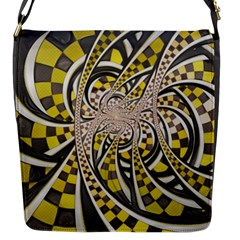 Liquid Taxi Cab, A Yellow Checkered Retro Fractal Flap Messenger Bag (s) by jayaprime