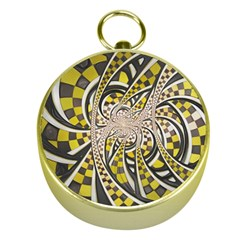 Liquid Taxi Cab, A Yellow Checkered Retro Fractal Gold Compasses by jayaprime
