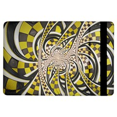 Liquid Taxi Cab, A Yellow Checkered Retro Fractal Ipad Air Flip by jayaprime