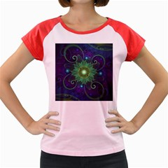 Glowing Blue Green Fractal Lotus Lily Pad Pond Women s Cap Sleeve T Shirt
