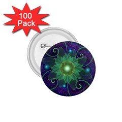Glowing Blue Green Fractal Lotus Lily Pad Pond 1 75  Buttons (100 Pack)  by beautifulfractals