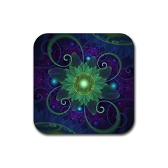 Glowing Blue Green Fractal Lotus Lily Pad Pond Rubber Square Coaster (4 Pack)  by jayaprime