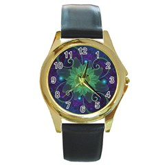 Glowing Blue Green Fractal Lotus Lily Pad Pond Round Gold Metal Watch by beautifulfractals