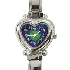 Glowing Blue Green Fractal Lotus Lily Pad Pond Heart Italian Charm Watch by jayaprime